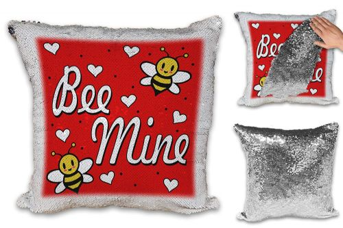 Bee Mine Funny Cute Sequin Reveal Magic Cushion Cover